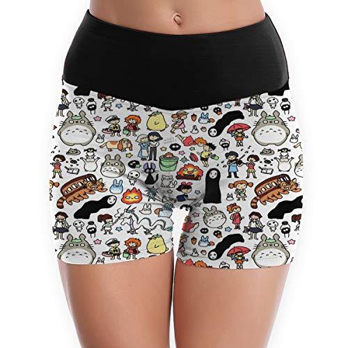 ETQYB Kawaii Ghibli Doodle Womens Slim-Type Yoga Shorts Workout Running Gym Fitness Shorts Pants White