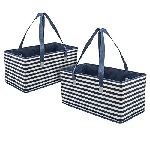 Planet E Reusable Grocery Shopping Bags – Trunk Size Extra Large Collapsible Boxes with Reinforced Bottoms Made of Recycled Plastic (Pack of 2) (Box Reinforced)