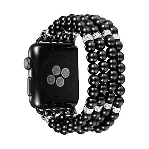 (Apple Strap Women's Fashion Hand Elastic Stretch Manmade Pearl Jewelry Agate Four Row Replacement Wristband 42Mm-Iwatch Apple Series 3/2/1 All Versions,Black )