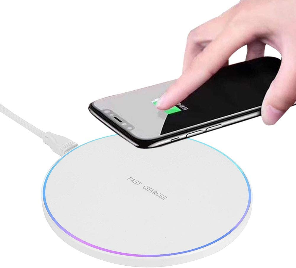 SOKER Wireless Charger 10W Wireless Fast Charging Pad for Samsung S6/S7/S8/Note 9/Note 8, LG NEXUS5-No AC Adapter(Round White)