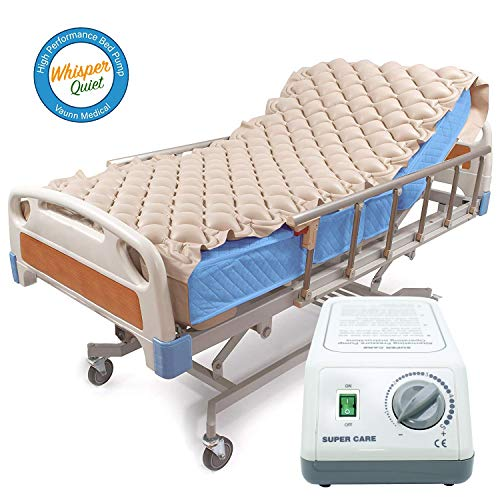 Premium Alternating Air Pressure Mattress for Medical Bed | Pressure Sore and Pressure Ulcer Relief | Includes Ultra Quiet Pump and Pad Topper | Fits Standard Hospital Bed