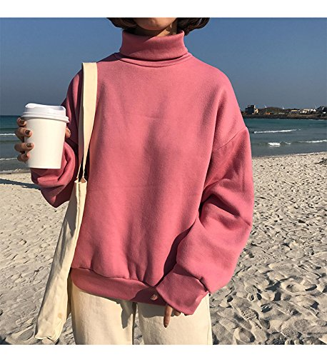 Chaud Acvip Haut Rose Pull shirt Top Sweat Blouse Hiver Femme Epais Col O6zOqBn