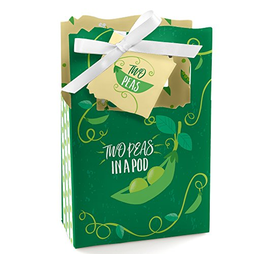 Double The Fun - Twins Two Peas in a Pod - Baby Shower or First Birthday Party Favor Boxes - Set of 12 ()