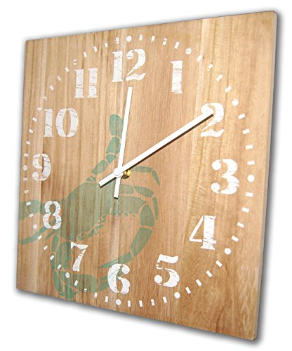 Nautical Crab Wall Clock, Coastal / Beach 12 Inch, Solid Wood, Non-Ticking, Silent, Made In USA (Natural)