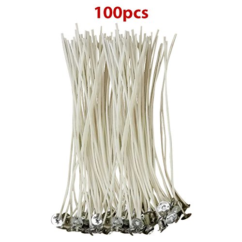 CozYours 6-Inch Low Smoke and Natural Candle Wicks with Tabs, 100-Pieces