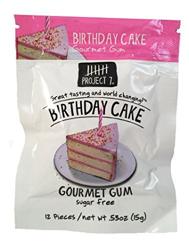 Project 7 Gourmet Chewing Gum, Birthday Cake, 0.53 oz (Pack of 3) by Project - Birthday 7 Cake Project