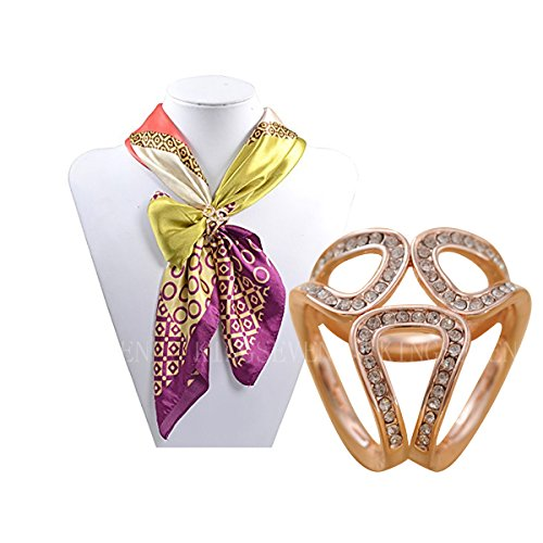 KINGSEVEN Womens Exquisite Tricyclic Scarves Clip Silk Scarves Buckle with Crystal
