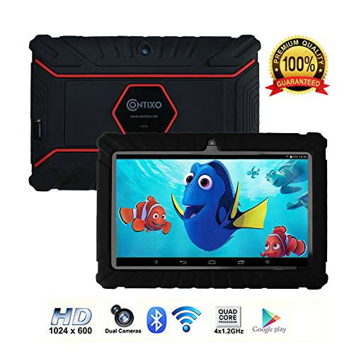 Contixo Kids Tablet K2 | 7 Display Android 6.0 Bluetooth WiFi Camera Parental Control for Children Infant Toddlers w/Free Tablet Case (Black)