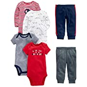 Simple Joys by Carter's Baby Boys 6-Piece Little Character Set, Red/Navy Bear, 6-9 Months