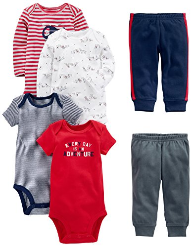 Simple Joys by Carter's Baby Boys 6-Piece Little Character Set, Red/Navy Bear,...