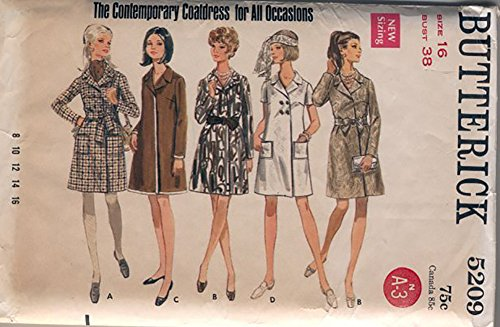 (Butterick 5209 Vintage 1960's Coatdress for all Occasions Vintage Sewing Pattern, Check Listings for Size)