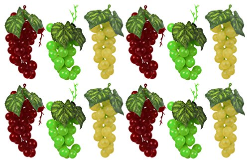 Set of 12 Faux Artificial Grapes! 12 Bunches in 3 Different Colors! Red, Yellow, Green! by DIY Tool Supply