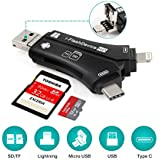 WOPOW Card Reader, 4 in 1 SD Memory Card Adapter with Lightning, Type C, USB/Micro USB Connector, Micro SD Card Reader for iOS/Android/Type-C/Mac/PC
