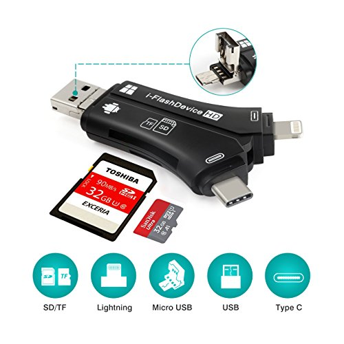 Card Reader, 4 in 1 SD Memory Card Adapter with Lightning, Type C, USB/Micro USB Connector, Micro SD Card Reader for iOS/Android/Type-C/Mac/PC by WOPOW