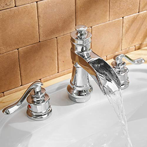 BWE Waterfall 8-16 Inch 3 Holes Two Handle Widespread Bathroom Sink Faucet Chrome by BWE (Image #3)