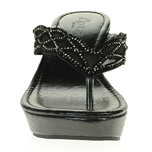 Crystal Size Black Sandals Low Ladies AARZ On Diamante LONDON Womens Heel Casual Slip Lightweight Shoes Comfort Wedge Ctaax1wqZO