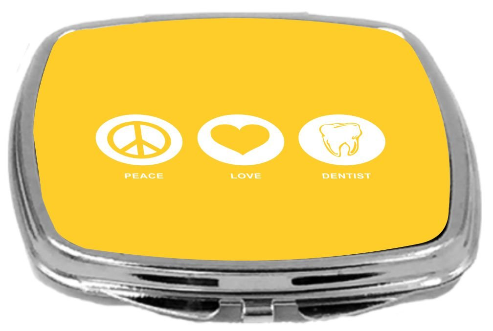 Rikki Knight Peace Love Dentist Design Compact Mirror, Yellow, 2 Ounce