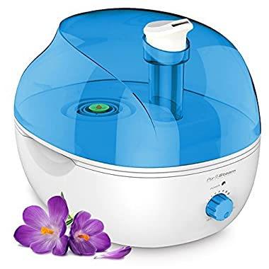 PurSteam 4L Ultrasonic Cool Mist Humidifier - Superior Humidifying Unit with Whisper-Quiet Operation and Automatic Shut-Off. Large Water Tank Allows Over 20 hrs of Operating Time