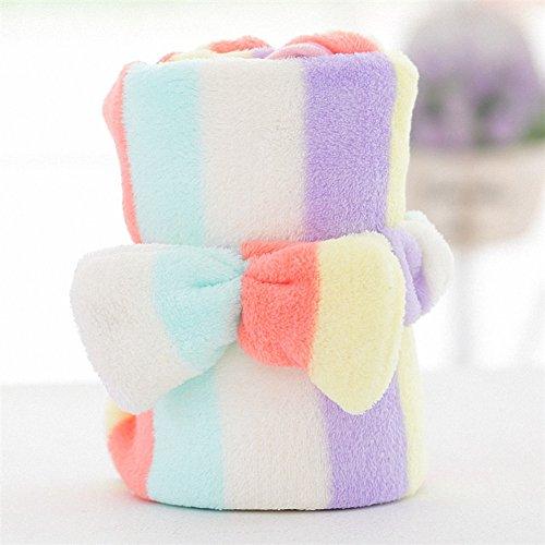 Super Soft Fleece Multi Purpose Cute Cartoon Rabbit Rainbow Baby Blanket with Hair Band,Nursing,Cuddle,Comforter,Playmat,Bath Towel Baby Shower,Gift,Travel