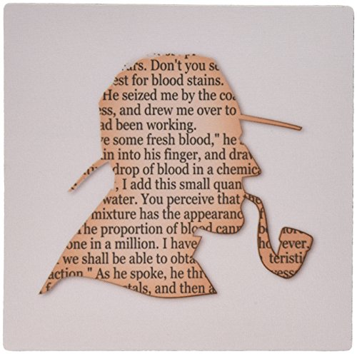 3dRose LLC 8 x 8 x 0.25 Inches Mouse Pad, Image of Funny Outline of Sherlock Holmes - ()