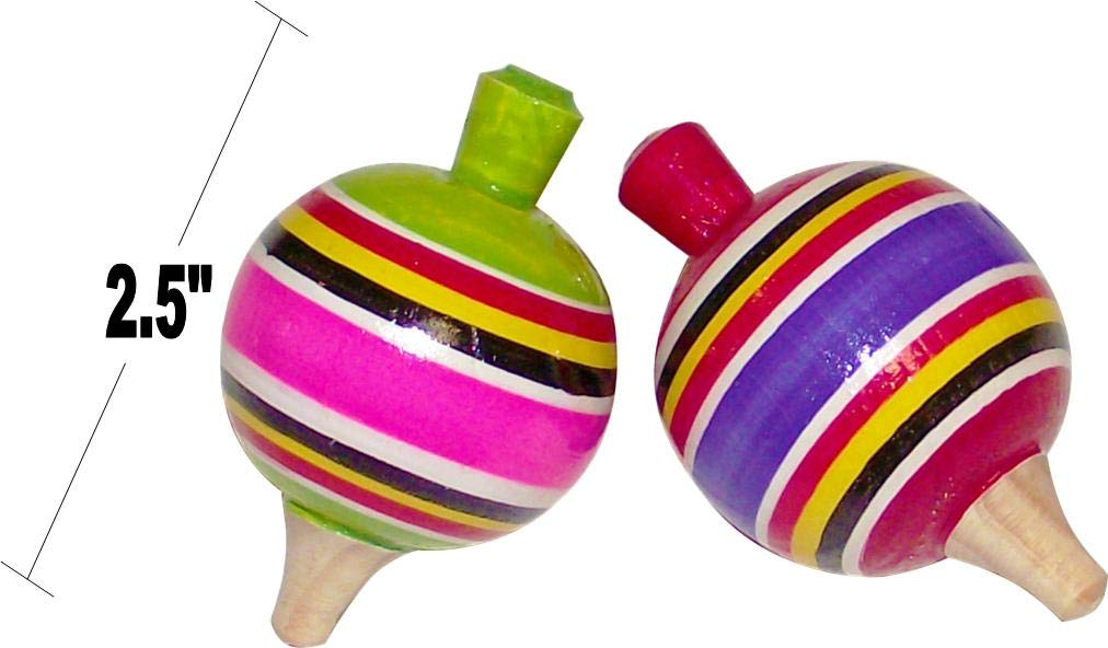 MoreFiesta Fine Mini Wooden Balero, Spin top and Trompo Keychain - Six Traditional Mexican Miniature Toys Box by MoreFiesta (Image #4)