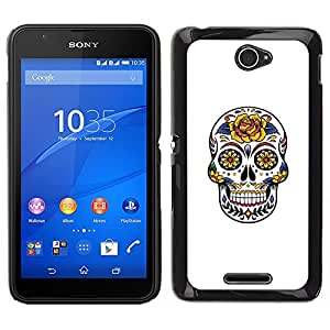 For Sony Xperia E4 Case , Floral Rose Amour de crâne Blanc Jaune - Diseño Patrón Teléfono Caso Cubierta Case Bumper Duro Protección Case Cover Funda