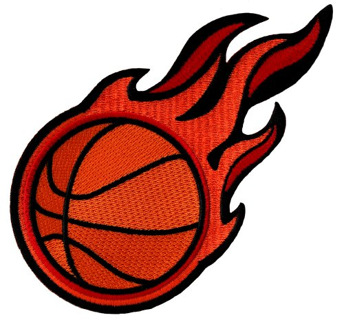 Flaming Basketball Patch Embroidered Iron-On Applique Sports Emblem