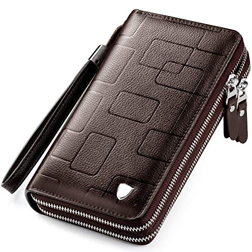 Mens Clutch Bag Handbag Leather Zipper Long Wallet Business Hand Clutch Phone Holder (Stripe Brown Double Zipper)