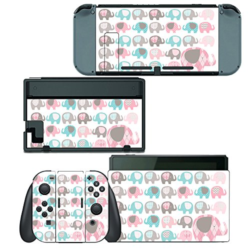 Decal Set Elephant - Decals Plus Skin Cover Sticker Wrap for Nintendo Switch Console Joy-Con and Dock