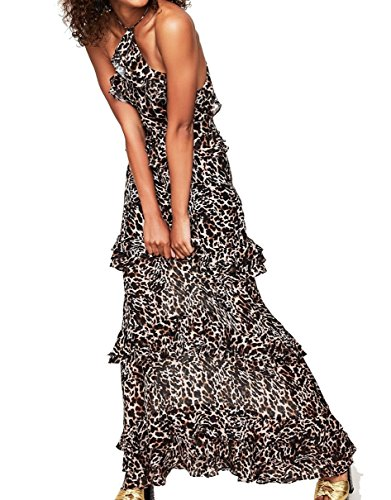 AFRM Womens Animal-Print Tiered Ruffle Maxi Dress Brown (Animal Print Ruffle Dress)