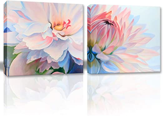 Green Lotus Leaves Pink Flower Canvas Painting Paint By Number Home Wall Decor