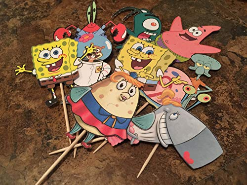 SPONGEBOB CHARACTER INSPIRED CUPCAKE TOPPERS - FULLY ASSEMBLED TOPPERS - BIRTHDAY DECORATIONS]()