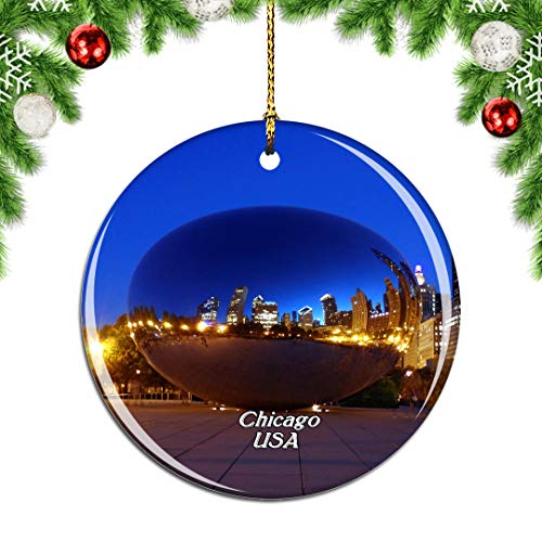 Weekino USA America Cloud Gate、Millennium Park Chicago Christmas Xmas Tree Ornament Decoration Hanging Pendant Decor City Travel Souvenir Collection Double Sided Porcelain 2.85 Inch (Millennium Chicago Park Christmas)