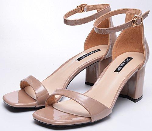 ODEMA Women Open Toe Block High Heel Suede/PU Dress Pump Sandals Nude Pu HP5H1