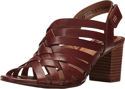 CLARKS Ralene Luster Womens Heeled Slingback Sandals Dark Tan Leather 9