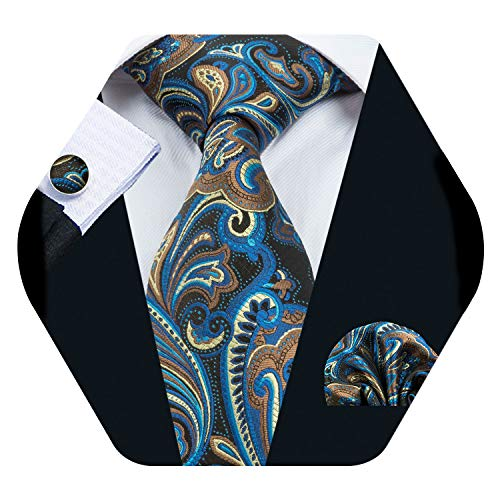 (Barry.Wang Men Tie Set Solid Silk Necktie Pocket Square Cufflinks Extra Long Tie (Blue Yellow))