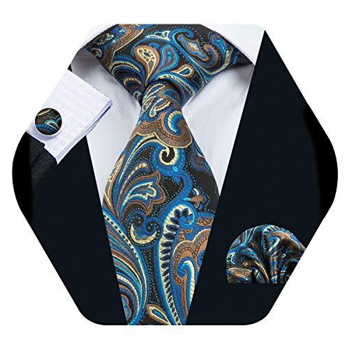 Barry.Wang Men Tie Set Solid Silk Necktie Pocket Square Cufflinks Extra Long Tie (Blue Yellow)