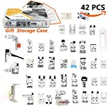 42 pcs Presser Feet Set with Manual & Case SIMPZIA Sewing Machine Foot Kit for Brother, Babylock, Janome, Singer,Elna, Toyota, New Home, Simplicity, Necchi, Kenmore, White ( LOW SHANK,SNAP-ON)