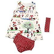 Toddler Infant Baby Girl Outfits Animals Flowers Dress + Polka Dot Briefs Macthing + Headband Summer Clothes Set (6-12 Months)
