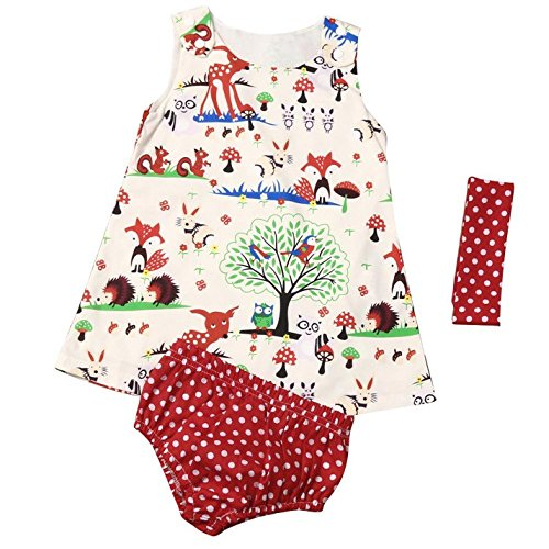 HappyMA Toddler Infant Baby Girl Outfits Animals Flowers Dress + Polka Dot Briefs Macthing + Headband Summer Clothes Set (12-18 Months)
