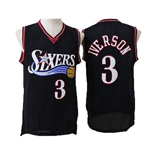 fan products of Seonyer Men's Iverson Jerseys Philadelphia 3 Basketball Jersey Black (XL)