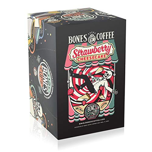 Bones Coffee Strawberry Cheesecake 12ct Single-Serve Coffee Pods for Keurig K-Cup Brewers