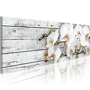 Cuadro en Lienzo 120x40 cm - 3 tres colores a elegir - Impresion en calidad fotografica - Cuadro en lienzo - orquidea flores b-A-0072-b-d 120x40 cm B&D XXL