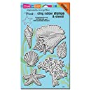 Stampendous Cling Rubber Stamp Set, Seashells with Template