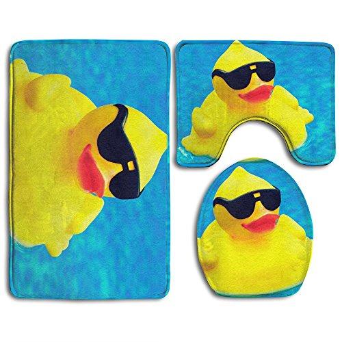HOMESTORES Funny Rubber Ducky With Sunglasses Bath Mat Bathroom Carpet Rug Washable Non-Slip 3 Piece Bathroom Mat Set