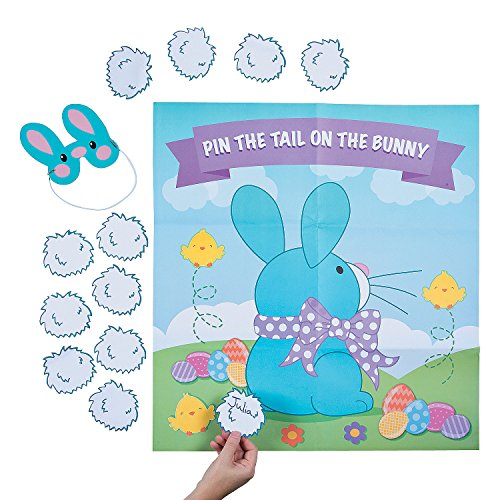 Fun Express - Pin The Tail On The Bunny Game for Easter - Toys - Games - Pin The & Bulls Eye Games - Easter - 2 Pieces
