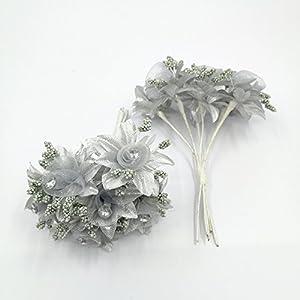 30 PCS Mini Rose Artificial Silk DIY Holiday Accessories Flower Diamond Bouquet For Wedding Decoration Scrapbooking Flower 4
