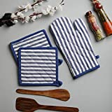 Cotton Oven Mitten and Pot Holders, 3 Piece Set, Blue & White Stripe For Everyday Use