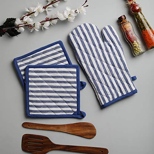 Cotton Oven Mitten and Pot Holders, 3 Piece Set, Blue & White Stripe For Everyday ()