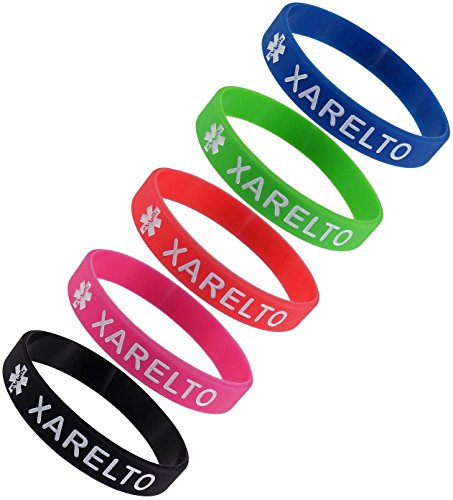 5 Pack    Xarelto  Silicone Bracelet Wristbands